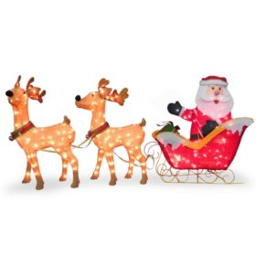 "National Tree Co. 34"" Pre-Lit Santa with Reindeer"