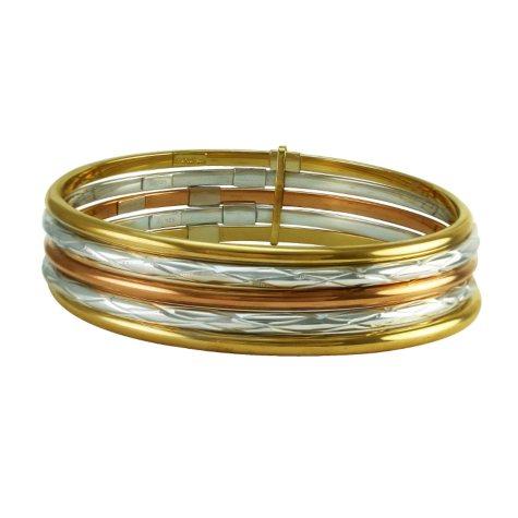 Love, Earth Tri-Color Stack Bangle Bracelet