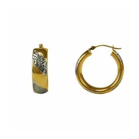 Love, Earth® Sterling Silver & 14K Yellow Gold Hoop Earrings
