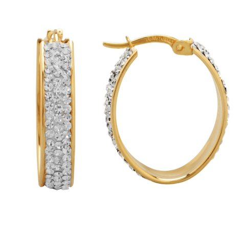 Love, Earth and Genuine Swarovski Crystal Accented Oval Hoop Earrings in Sterling Silver and 14K Yellow Gold