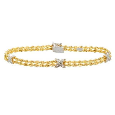 """7.5"""" """"X"""" Stationed Bracelet in Sterling Silver and 14K Yellow Gold"""