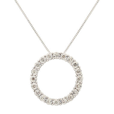 0.10 ct. t.w. Diamond Circle Pendant in 14K White Gold (I, I1)