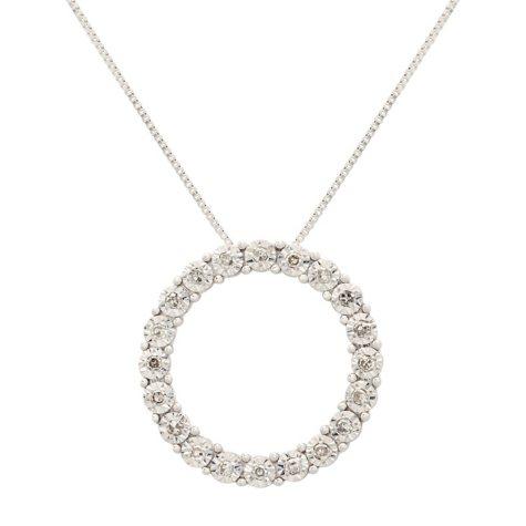 0.10 ct. t.w. Diamond Circle Pendant in 14K White Gold (I, I1)