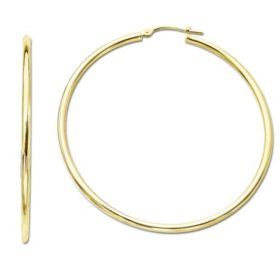 2 x 25mm Hoop Earrings in 14K Yellow Gold