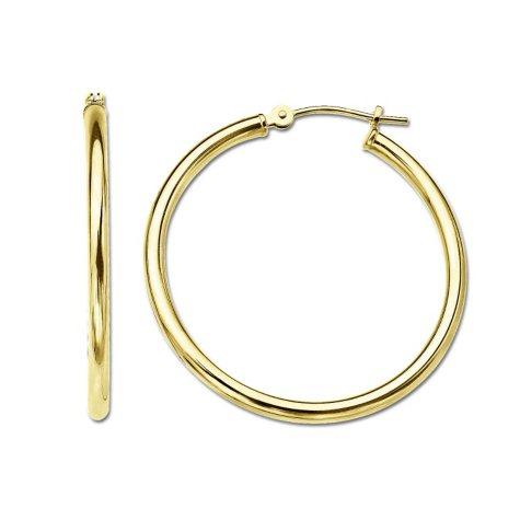 2 x 35mm Hoop Earrings in 14K Yellow Gold