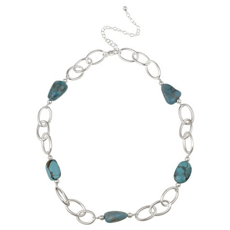 """Sterling Silver Oval Link and Turquoise Nugget Station Necklace, 20"""" with 3"""" Extender"""