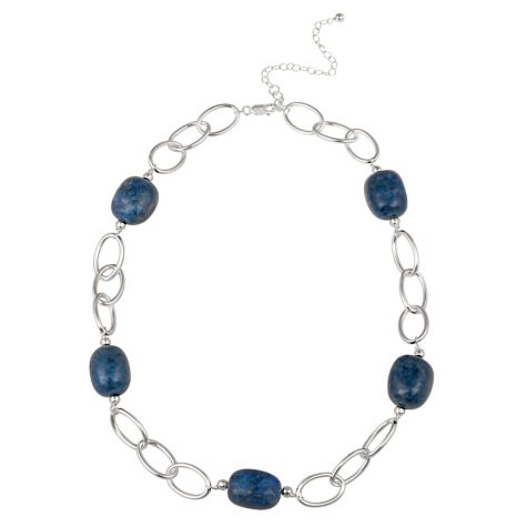 """Sterling Silver Oval Link and Lapis Nugget Station Necklace, 20"""" with 3"""" Extender"""