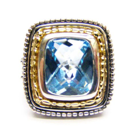 6 ct. t.w. Blue Topaz Ring in 14K Yellow Gold & Sterling Silver