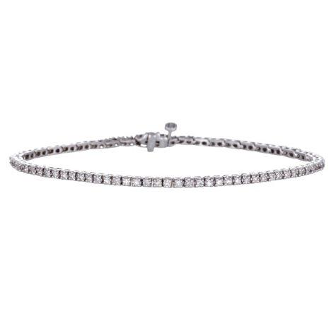"""0.99 CT. T.W. Diamond 7"""" Tennis Bracelet in 14K White Gold H-I, I1 (IGI Appraisal Value: $1,845.00)"""