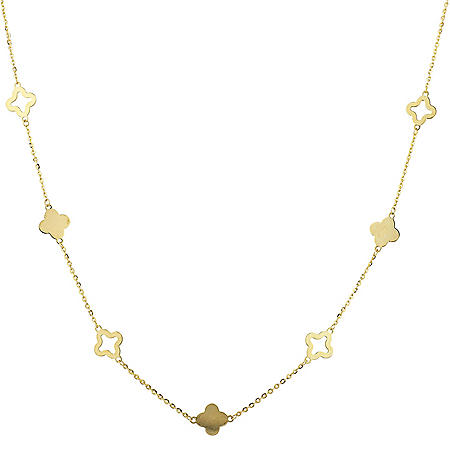 "14K Yellow Gold 18"" Clover Necklace"