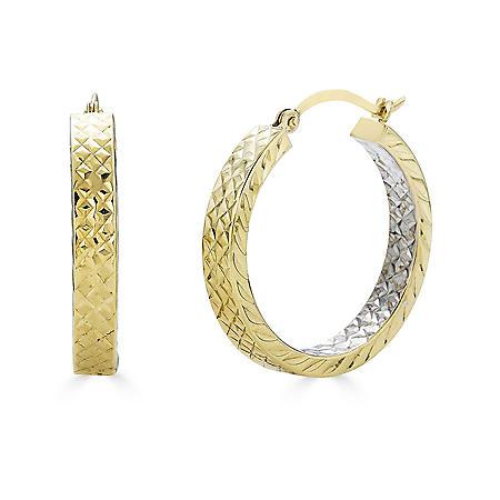 14K Two-Tone Diamond Cut Hoop Earrings