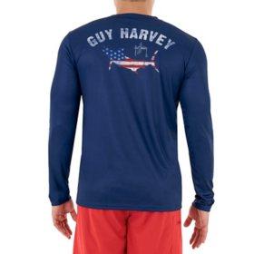 Guy Harvey Men's Striped Marlin Sun Protection Top