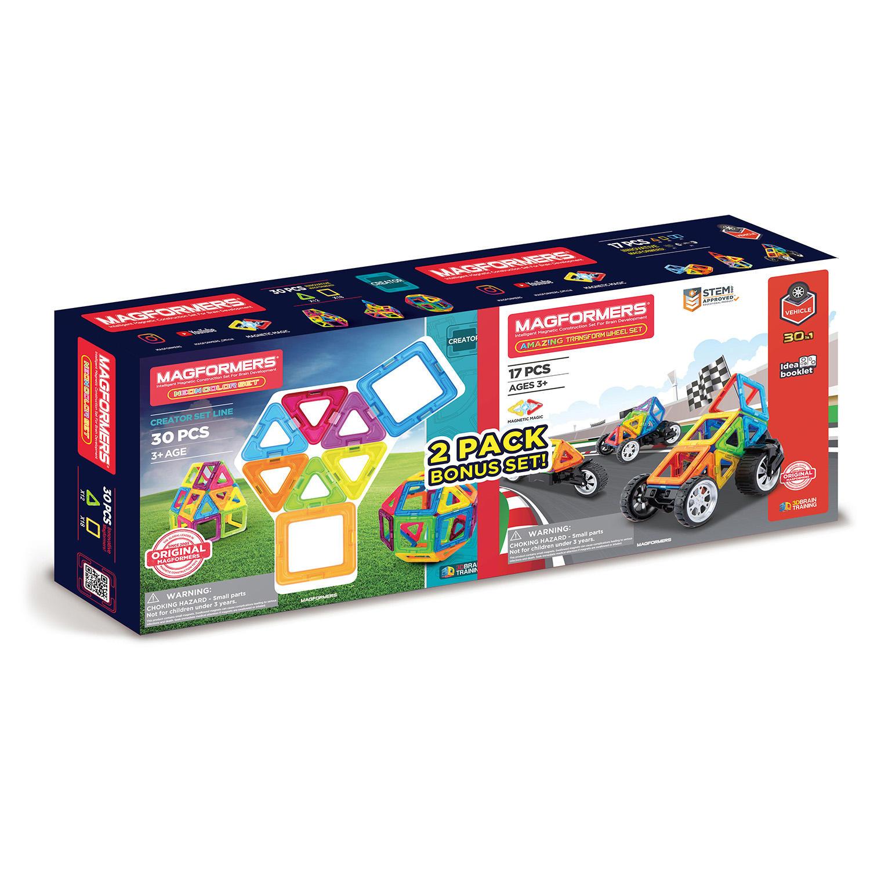 30-Piece Magformers Neon & 17-Piece Transform Wheel Set Bundle Pack