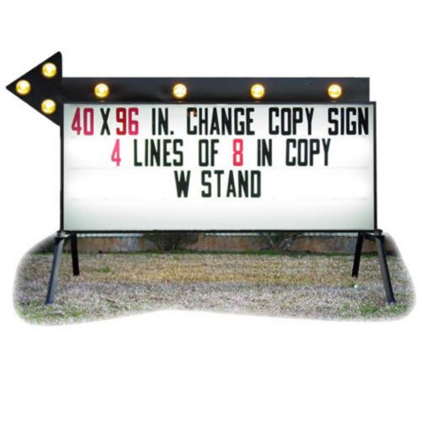 """Outdoor Signs America Portable Business Sign with Flashing Arrow, 40"""" x 96""""  **To Be Discontinued as of June 1, 2017**"""