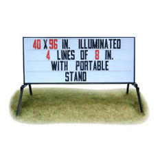 """Outdoor Signs America Portable Lighted Business Sign with Stand, 40"""" x 96"""""""