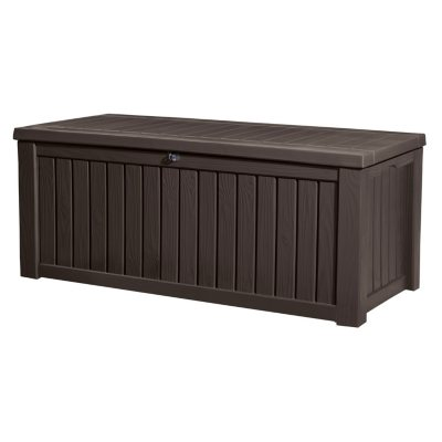 Keter Rockwood 150-Gallon Outdoor Plastic Storage Box, Brown