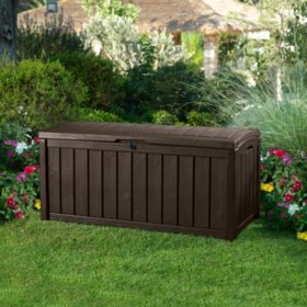 Keter Glenwood Outdoor Plastic Deck Storage Container Box 101 Gal, Brown
