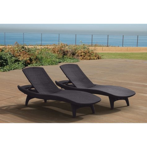 Keter 2-Pack All-weather Rattan Chaise Lounge , Grey