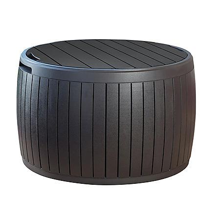 Wondrous Keter Circa 37 Gallon Natural Wood Outdoor Storage Table Deck Box Home Remodeling Inspirations Gresiscottssportslandcom
