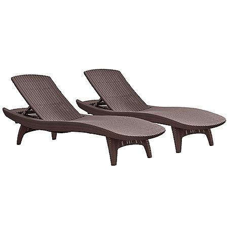 Keter 2-Pack All-weather Grenada Chaise Lounger, Various Colors