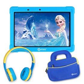 "Contixo 10"" Kids' Learning Tablet Bundle - 2GB RAM, 16GB Storage, Android 10, Dual Cameras, Parental Control, Wireless Bluetooth Kids Headphone & Storage Bag"
