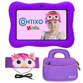 "Contixo 7"" Kids' Learning Tablet Bundle - 2GB RAM, 32GB Storage, Android 10, Dual Cameras, Parental Control, Headband Headphone, & Storage Bag"