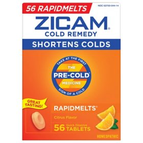 Zicam Cold Remedy RapidMelts, Citrus Flavor, Quick Dissolve Tablets (56 ct.)