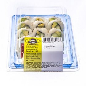 FujiSan Cucumber Avocado Vegetarian Sushi Roll (12 pcs.)