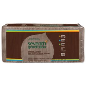 Seventh Generation 100% Recycled Napkins, 1-Ply, Unbleached (12x12, 500pk.)