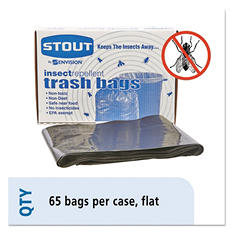 Stout - Insect-Repellent Trash Garbage Bags, 55gal, 2mil, 37 x 52, Bulk -  65/Box