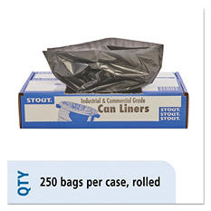 Stout - 100% Recycled Plastic Garbage Bags, 7-10gal, 1mil, 24 x 24, Brown -  250/Carton
