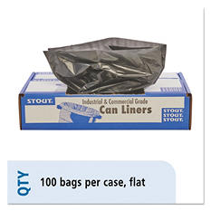 Stout - 100% Recycled Plastic Garbage Bags, 33gal, 1.3mil, 33 x 40, Brown -  100/Carton