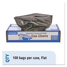 Stout - 100% Recycled Plastic Garbage Bags, 33gal, 1.5mil, 33 x 40, Brown -  100/Carton