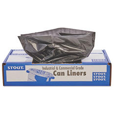 Stout - 100% Recycled Plastic Garbage Bags, 65gal, 1.5mil, 50x51, BN -  100/Carton
