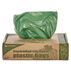 Stout - Eco-Degradable Plastic Trash Garbage Bag, 33gal, 1.1mil, 33 x 40, Green -  40/Box