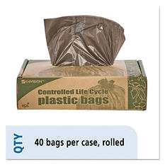Stout - Eco-Degradable Plastic Trash Garbage Bag, 39gal, 1.1mil, 33 x 44, Brown -  40/Box