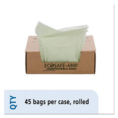 Stout - EcoSafe-6400 Compostable Compost Bags, 13gal, .85mil, 24 x 30, Green -  45/Box