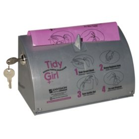 Stout Tidy Girl Plastic Feminine Hygiene Disposal Bag Dispenser, Gray