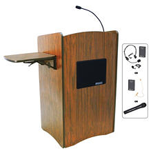 Amplivox 50W Wireless Multimedia Full Height Computer Lectern, Select Color