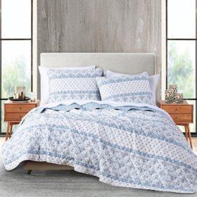 Anne Klein Isola 3-Piece Quilt Set, Blue (Assorted Sizes)