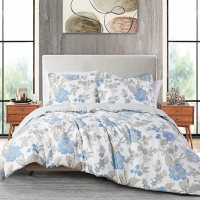 Anne Klein Brenna 3-Piece Comforter Set, Blue (Assorted Sizes)