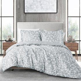 Anne Klein Lee 3-Piece Comforter Set, Grey (Assorted Sizes)