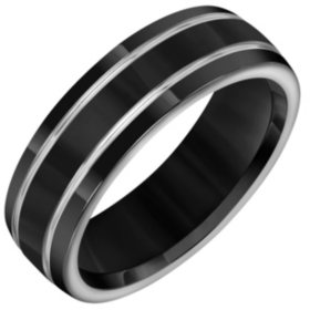 Black & Grey Titanium Comfort-Fit Band - 7mm