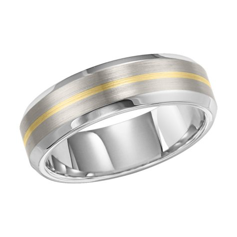 Stainless Steel & 14K Gold Band - 7mm