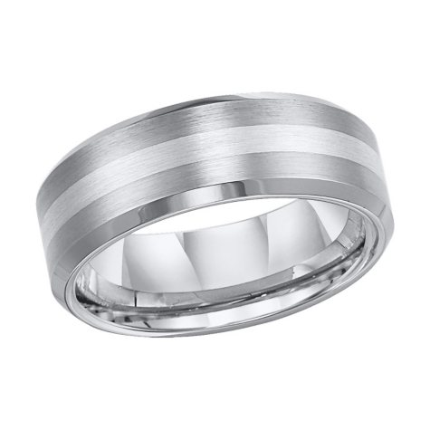 Tungsten Carbide and Silver Comfort-Fit Band - 8mm