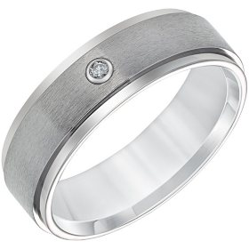 7mm Comfort Fit Titanium Wedding Band With Diamond Accent
