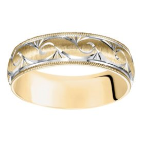 6mm Satin Finish Wedding Band with Milgrain Edge in 14 Karat Gold