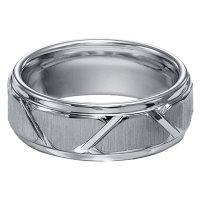 8mm Tungsten Carbide Comfort Fit Band with Vertical Satin Finish