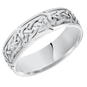 6.5 MM Celtic Knot Comfortfit Band in 14K White Gold