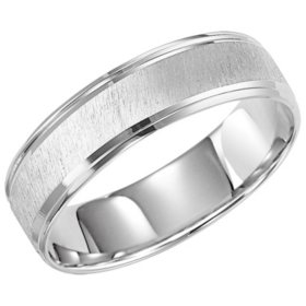 6MM Satin & High Polish Comfort Fit Band in 14 Karat White Gold